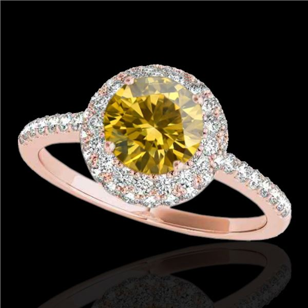 1.6 ctw Certified SI/I Fancy Intense Yellow Diamond Ring 10k Rose Gold - REF-203R2K