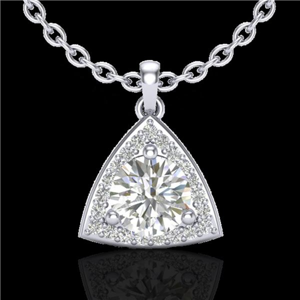 1.50 ctw Micro Pave VS/SI Diamond Certified Necklace 18k White Gold - REF-385K8Y
