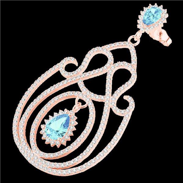 6.40 ctw TOPAZ & Micro Pave VS/SI Diamond Earrings 14k Rose Gold - REF-381X8A