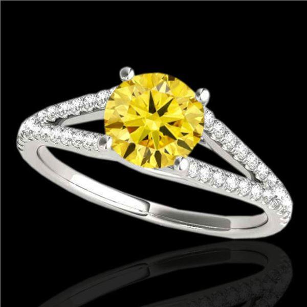 1.75 ctw Certified SI/I Fancy Intense Yellow Diamond Ring 10k White Gold - REF-354M5G