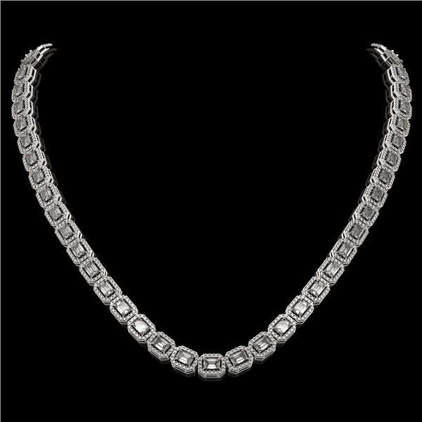 21.12 ctw Emerald Cut Diamond Micro Pave Necklace 18K White Gold - REF-2509F6M