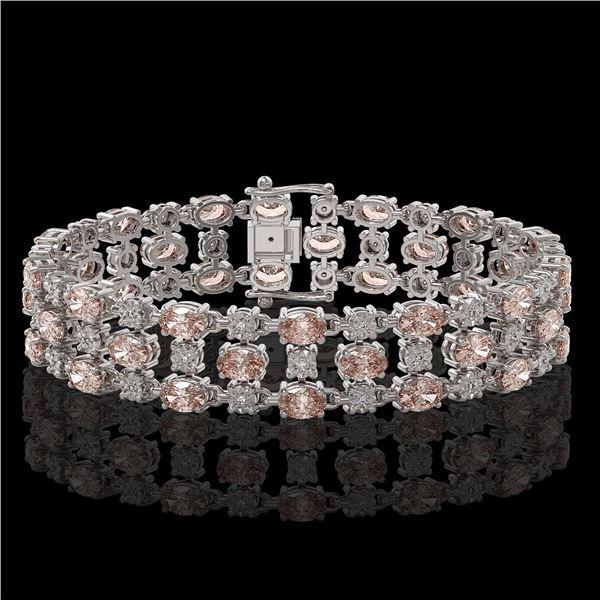 11.02 ctw Morganite & Diamond Row Bracelet 10K White Gold - REF-245F5M