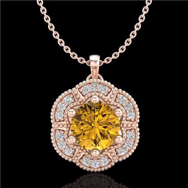 1.01 ctw Intense Fancy Yellow Diamond Art Deco Necklace 18k Rose Gold - REF-232G8W