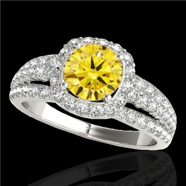 2.25 ctw Certified SI/I Fancy Intense Yellow Diamond Ring 10k White Gold - REF-237K3Y