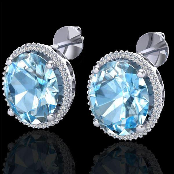 25 ctw Sky Blue Topaz & Micro VS/SI Diamond Earrings 18k White Gold - REF-125R6K