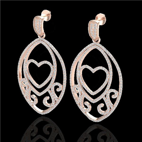 3.20 ctw Micro Pave VS/SI Diamond Heart Earrings 14k Rose Gold - REF-230H3R