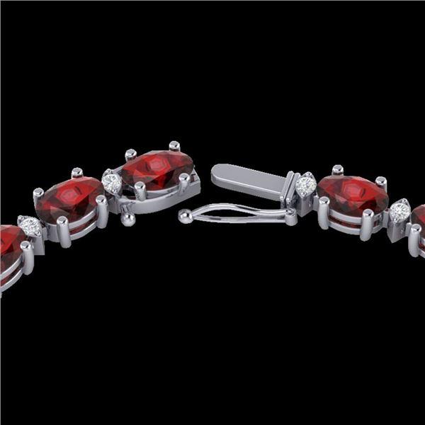 33 ctw Garnet & VS/SI Diamond Certified Eternity Necklace 10k White Gold - REF-149W3H