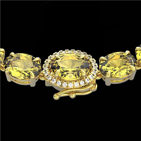45.25 ctw Citrine & VS/SI Diamond Micro Pave Necklace 14k Yellow Gold - REF-263R6K