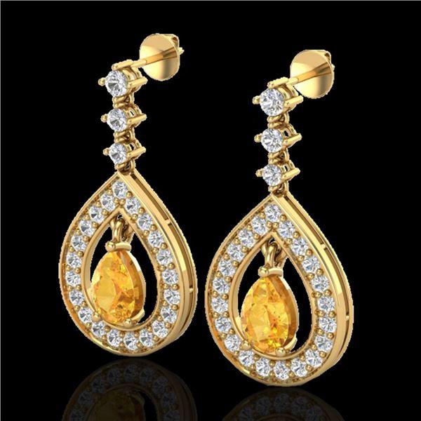 2.25 ctw Citrine & Micro Pave VS/SI Diamond Earrings 14k Yellow Gold - REF-99K8Y