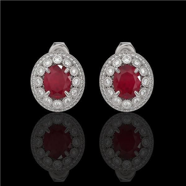 8.84 ctw Certified Ruby & Diamond Victorian Earrings 14K White Gold - REF-220M8G