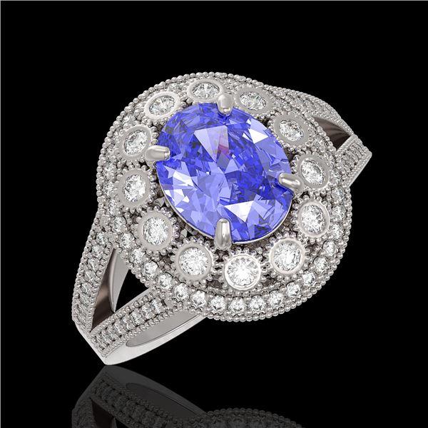 4.76 ctw Certified Tanzanite & Diamond Victorian Ring 14K White Gold - REF-178N5F