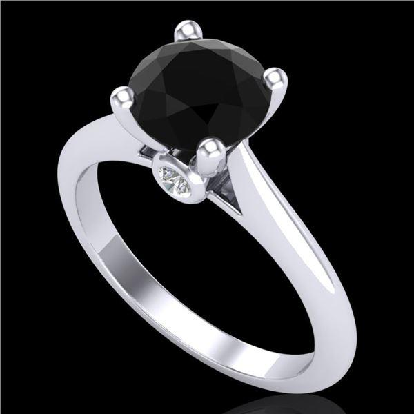 1.6 ctw Fancy Black Diamond Engagment Art Deco Ring 18k White Gold - REF-75R2K