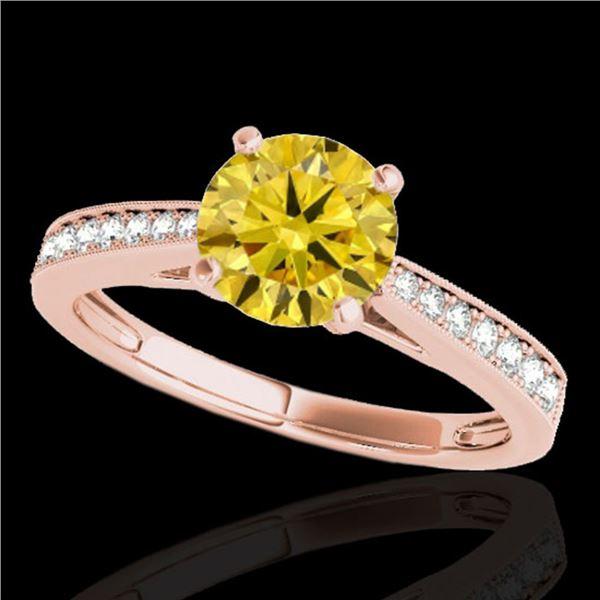 1.25 ctw Certified SI/I Fancy Intense Yellow Diamond Ring 10k Rose Gold - REF-188N2F
