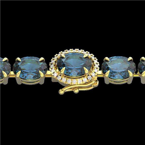 36 ctw London Blue Topaz & VS/SI Diamond Micro Bracelet 14k Yellow Gold - REF-128X9A
