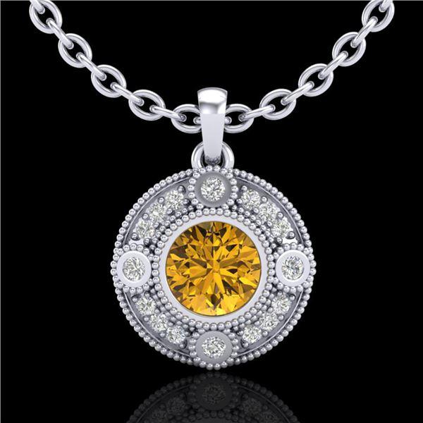 1.01 ctw Intense Fancy Yellow Diamond Art Deco Necklace 18k White Gold - REF-136N4F
