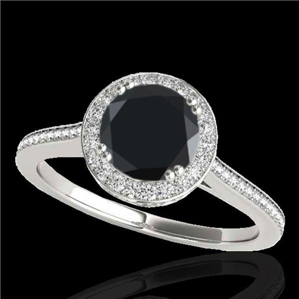 1.55 ctw Certified VS Black Diamond Solitaire Halo Ring 10k White Gold - REF-67R6K