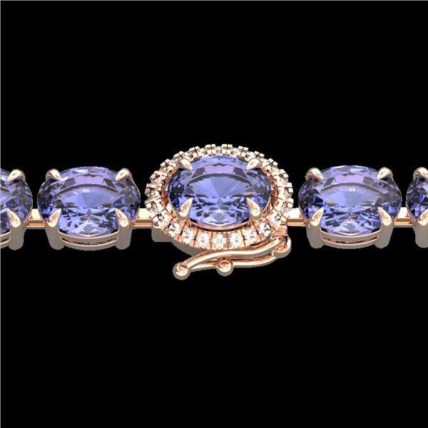 32 ctw Tanzanite & VS/SI Diamond Micro Bracelet 14k Rose Gold - REF-328W9H