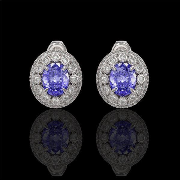 9.06 ctw Tanzanite & Diamond Victorian Earrings 14K White Gold - REF-286G8W
