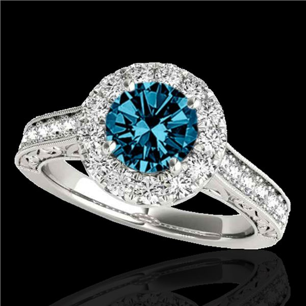 1.7 ctw SI Certified Fancy Blue Diamond Solitaire Halo Ring 10k White Gold - REF-177R3K