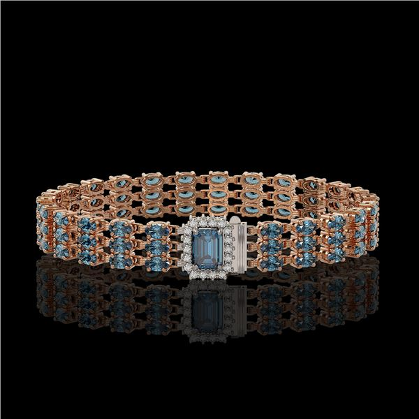 26.02 ctw London Topaz & Diamond Bracelet 14K Rose Gold - REF-318H2R
