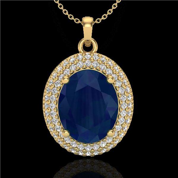 4.50 ctw Sapphire & Micro Pave VS/SI Diamond Necklace 18k Yellow Gold - REF-120R9K
