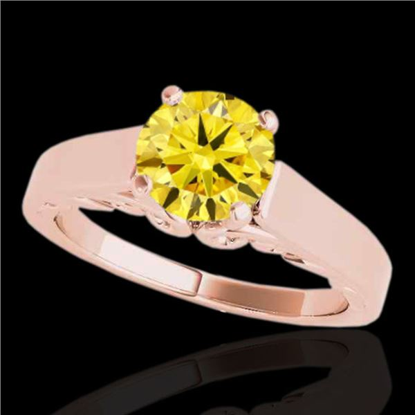 1 ctw Certified SI/I Fancy Intense Yellow Diamond Ring 10k Rose Gold - REF-156N8F