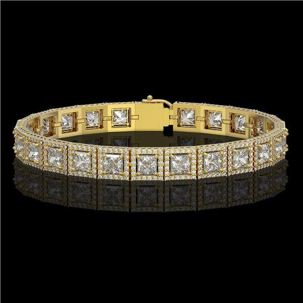 15.87 ctw Princess Cut Diamond Micro Pave Bracelet 18K Yellow Gold - REF-2171N9F