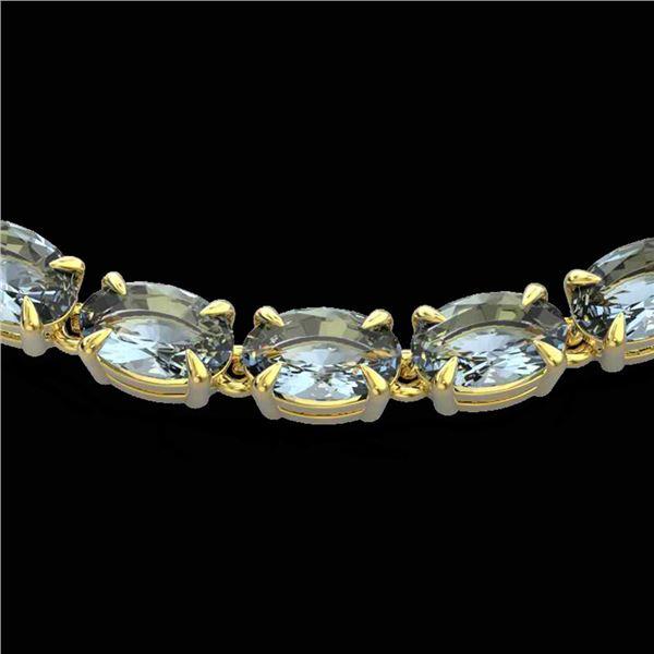 29 ctw Aquamarine Eternity Tennis Necklace 14k Yellow Gold - REF-276H2R