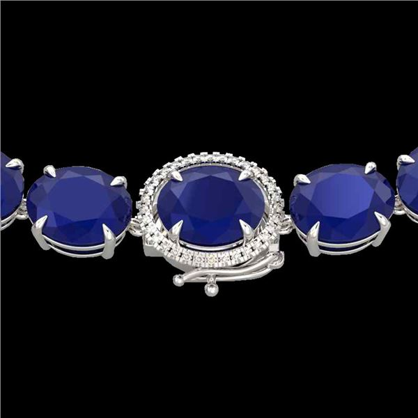 170 ctw Sapphire & VS/SI Diamond Halo Micro Necklace 14k White Gold - REF-890A9N