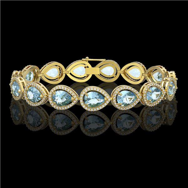 19.85 ctw Aquamarine & Diamond Micro Pave Halo Bracelet 10k Yellow Gold - REF-423W3H