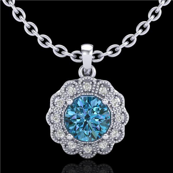 1.15 ctw Fancy Intense Blue Diamond Art Deco Necklace 18k White Gold - REF-218R2K