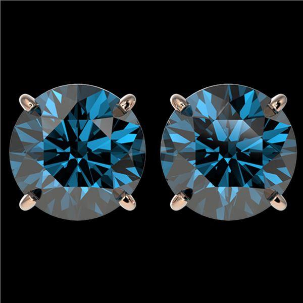 4 ctw Certified Intense Blue Diamond Stud Earrings 10k Rose Gold - REF-556A3N