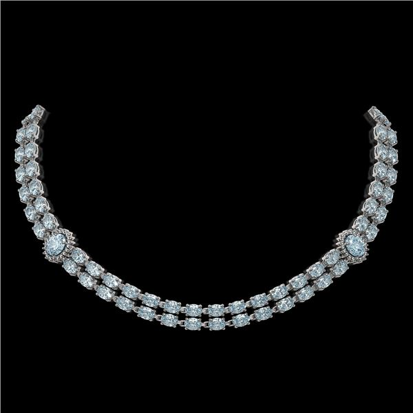 31.92 ctw Aquamarine & Diamond Necklace 14K White Gold - REF-454M5G