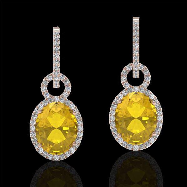 6 ctw Citrine & Micro Pave Halo VS/SI Diamond Earrings 14k Rose Gold - REF-98K2Y