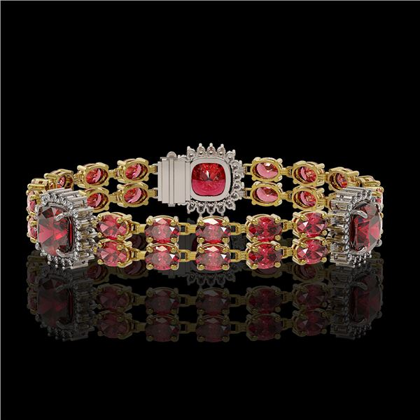 18.93 ctw Tourmaline & Diamond Bracelet 14K Yellow Gold - REF-314K8Y