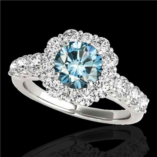 2.25 ctw SI Certified Fancy Blue Diamond Halo Ring 10k White Gold - REF-177G3W