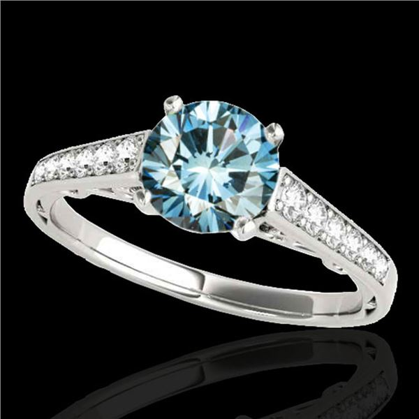 1.35 ctw SI Certified Fancy Blue Diamond Solitaire Ring 10k White Gold - REF-117N3F