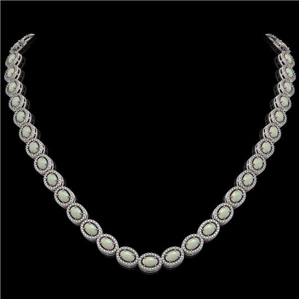 21.21 ctw Opal & Diamond Micro Pave Halo Necklace 10k White Gold - REF-581R8K