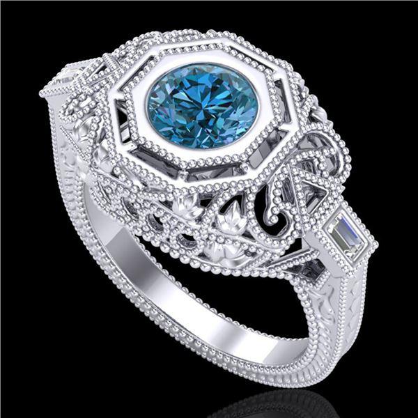 1.13 ctw Fancy Intense Blue Diamond Art Deco Ring 18k White Gold - REF-240X2A
