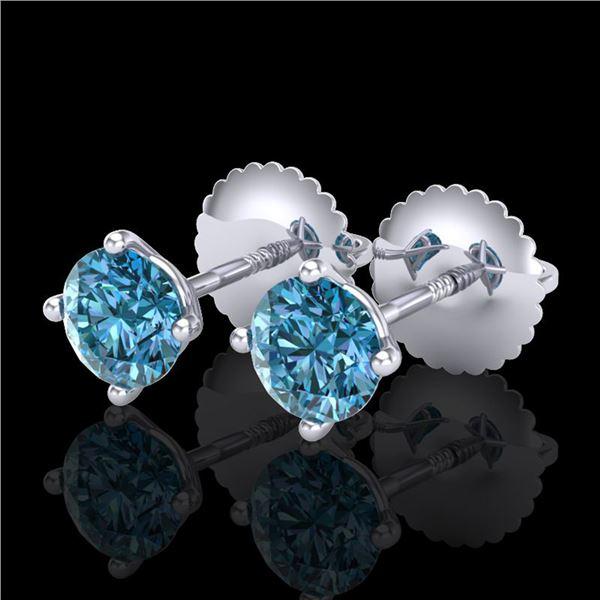 0.65 ctw Fancy Intense Blue Diamond Art Deco Earrings 18k White Gold - REF-61K4Y