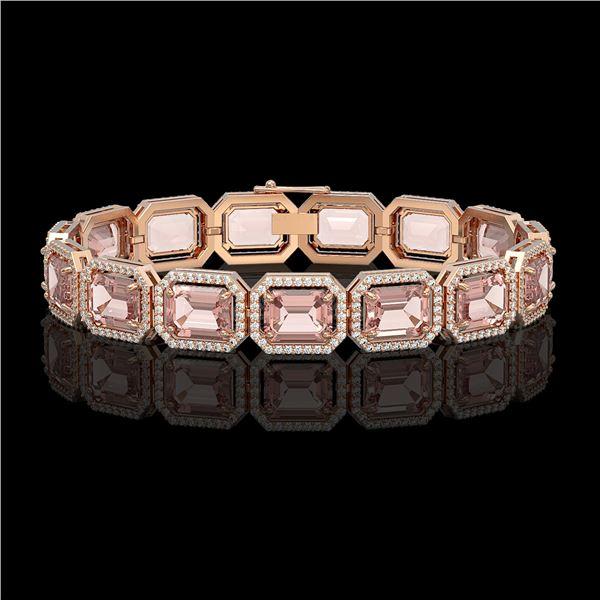 37.11 ctw Morganite & Diamond Micro Pave Halo Bracelet 10k Rose Gold - REF-787K3Y