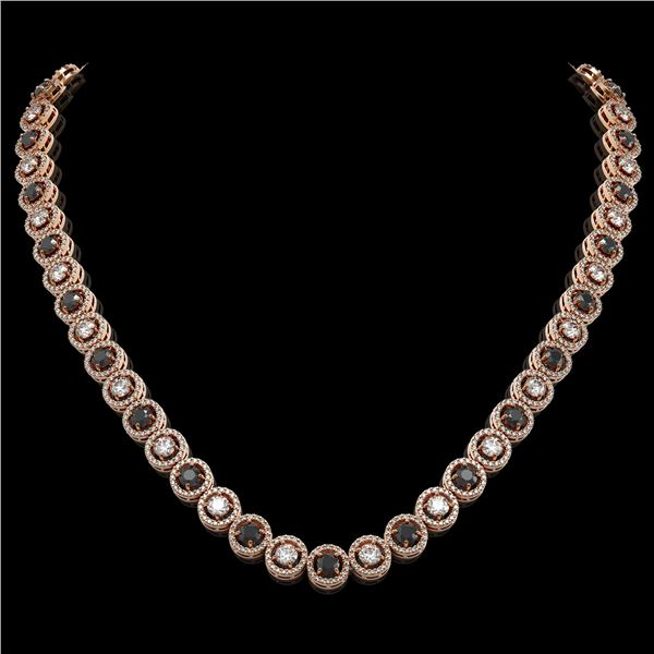 20.35 ctw Black & Diamond Micro Pave Necklace 18K Rose Gold - REF-1302M5G