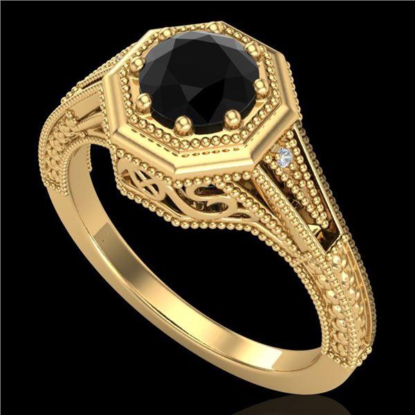 0.84 ctw Fancy Black Diamond Engagment Art Deco Ring 18k Yellow Gold - REF-89X3A