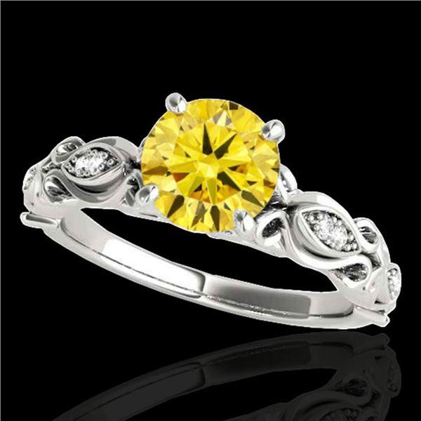 1.1 ctw Certified SI Intense Yellow Diamond Antique Ring 10k White Gold - REF-184R3K