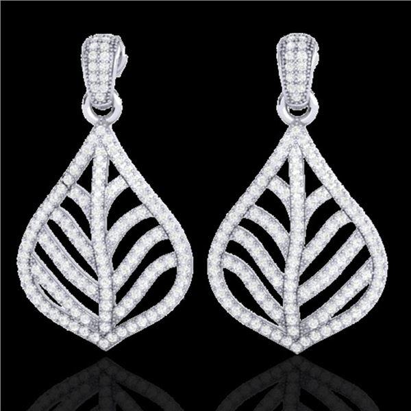2.50 ctw Micro Pave VS/SI Diamond Earrings Designer 18k White Gold - REF-236G4W