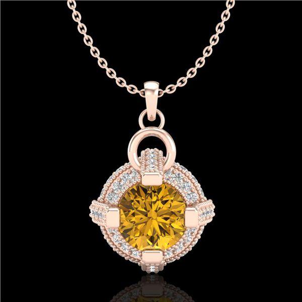 1.57 ctw Intense Fancy Yellow Diamond Micro Pave Necklace 18k Rose Gold - REF-209G3W