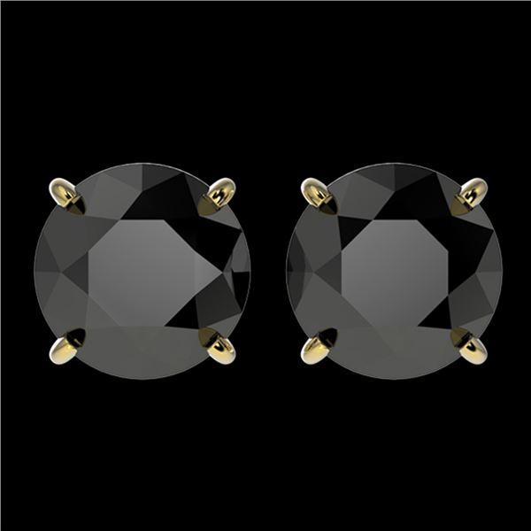 3 ctw Fancy Black Diamond Solitaire Stud Earrings 10k Yellow Gold - REF-60K3Y
