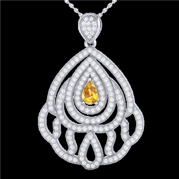 2 ctw Yellow Sapphire & Micro VS/SI Diamond Necklace 18k White Gold - REF-180K2Y