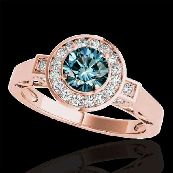 1.75 ctw SI Certified Fancy Blue Diamond Halo Ring 10k Rose Gold - REF-167M8G