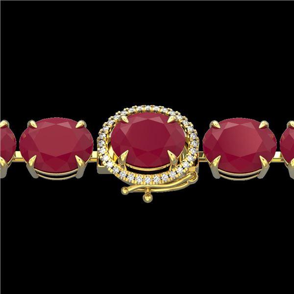 75 ctw Ruby & Micro Pave VS/SI Diamond Bracelet 14k Yellow Gold - REF-636H4R